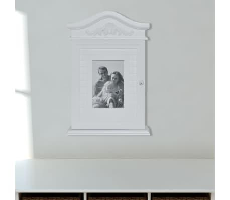 vidaXL Nøkkelskap med fotoramme hvit[4/9]