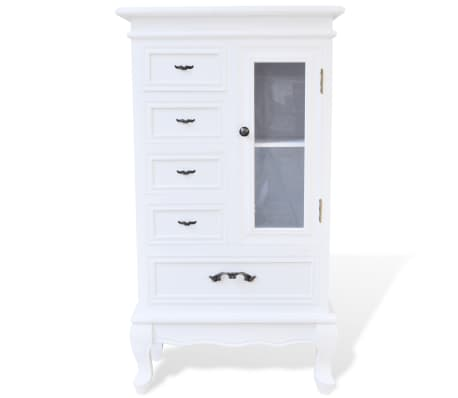 White Cabinet with 5 Drawers 2 Shelves[4/7]