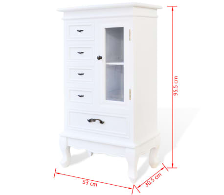 White Cabinet with 5 Drawers 2 Shelves[7/7]