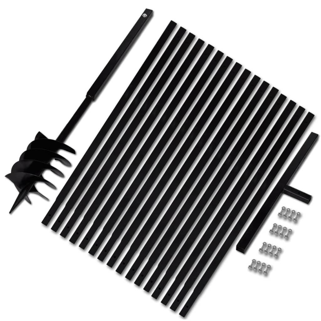Afbeelding van vidaXL Grondboor met handvat 180 mm en verlengstukken 17 m (staal)