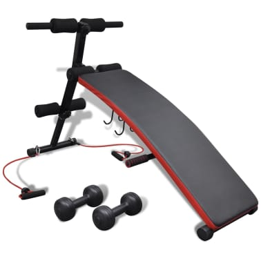 Adjustable Multifunctional Sit Up Bench with 6.6 lb Dumbbells[1/5]