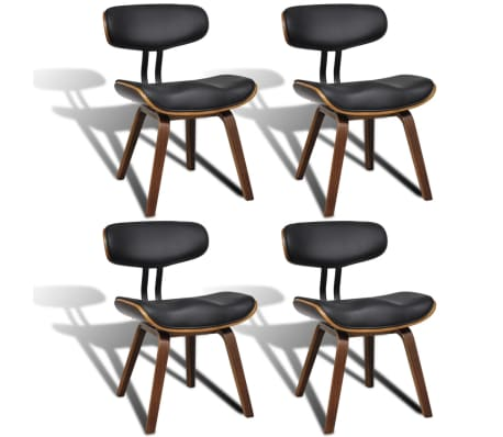 vidaXL Dining Chairs 4 pcs Bent Wood and Faux Leather