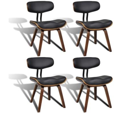 vidaXL Valgomojo kėdės, 4vnt., išlenkta mediena ir dirbtinė oda