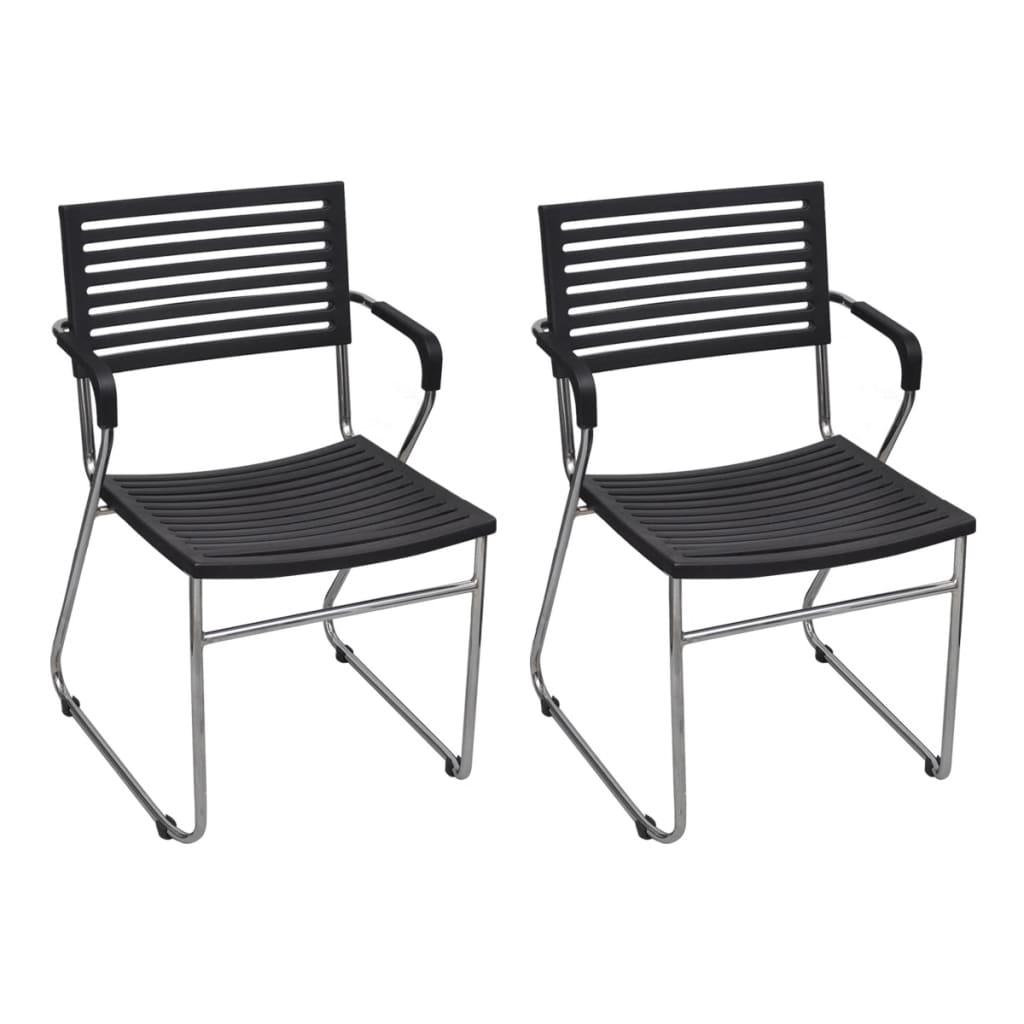 vidaXL Stohovatelná židle, 2 ks, železný rám a plast, černá