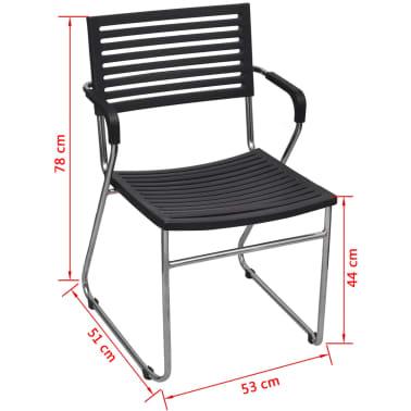 vidaXL Stapelbare Esszimmerstühle 2 Stk. Schwarz Kunststoff