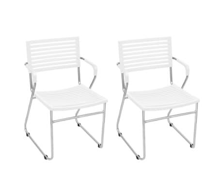 vidaXL Stapelbare Esszimmerstühle 2 Stk. Weiß Kunststoff