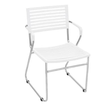 Vidaxl 2pz sedie con braccioli impilabili plastica telaio for Sedie impilabili plastica
