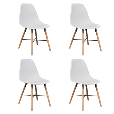 4 White Armless Dining Chair with Hardwood Legs[2/8]