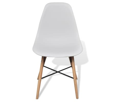 4 White Armless Dining Chair with Hardwood Legs[3/8]