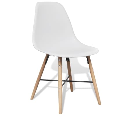 4 White Armless Dining Chair with Hardwood Legs[4/8]