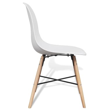 4 White Armless Dining Chair with Hardwood Legs[6/8]