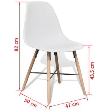 4 White Armless Dining Chair with Hardwood Legs[8/8]
