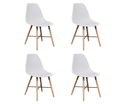 4 White Armless Dining Chair with Hardwood Legs[1/8]