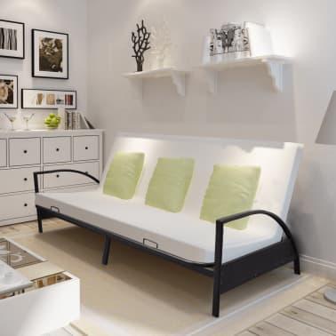 acheter vidaxl canap lit pliable m tal noir pas cher. Black Bedroom Furniture Sets. Home Design Ideas
