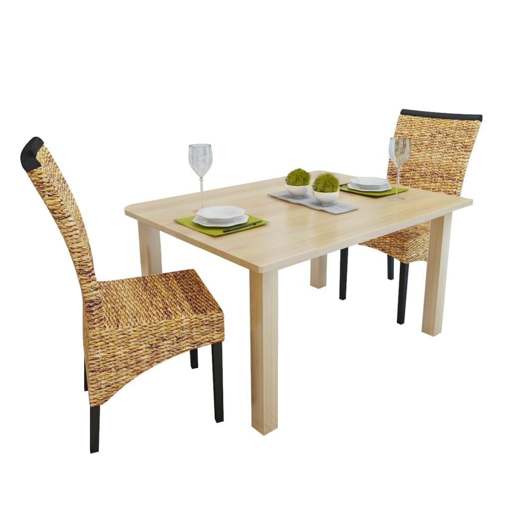 vidaXL Ratanově vyplétané jídelní židle 2 ks abakové hnědé