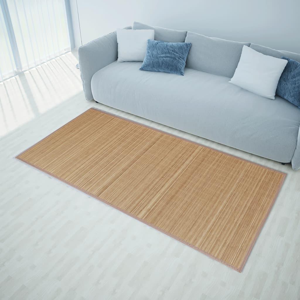 Ristkülikukujuline pruun bambusvaip 80 x 300 cm