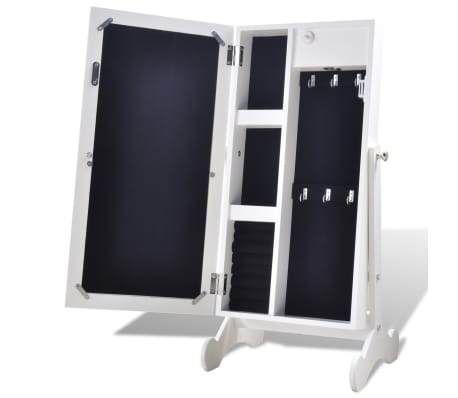 Biała toaletka na biżuterię z oświetleniem LED i lustrem[5/10]