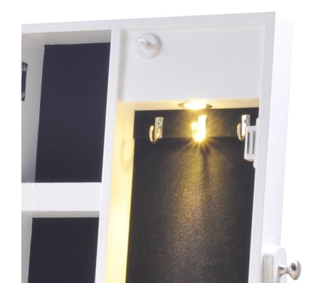 Biała toaletka na biżuterię z oświetleniem LED i lustrem[6/10]