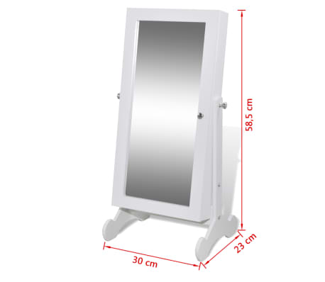 Biała toaletka na biżuterię z oświetleniem LED i lustrem[10/10]