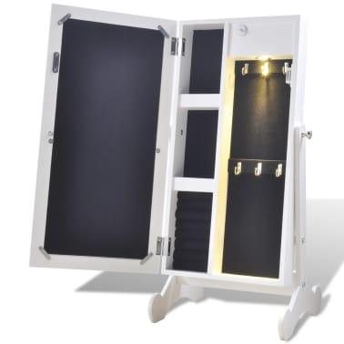 Biała toaletka na biżuterię z oświetleniem LED i lustrem[4/10]