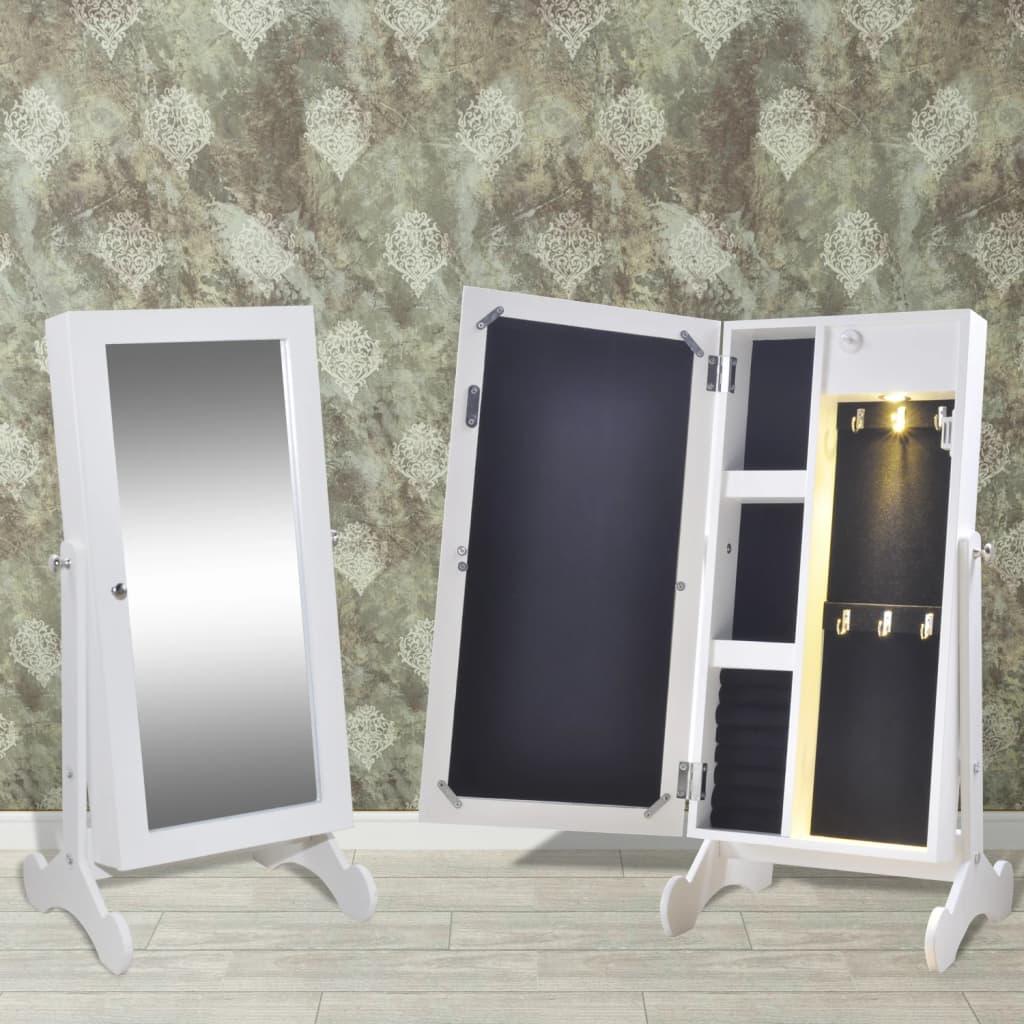 Bílá šperkovnice s LED osvětlením a zrcadlovými dvířky
