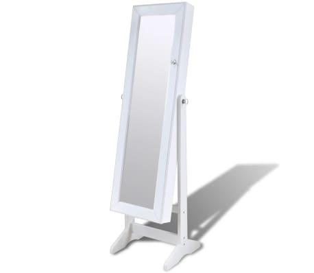 Cabinet alb pentru bijuterii cu suport, oglindă și lampă LED[2/7]
