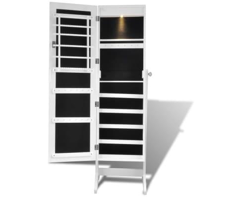 Cabinet alb pentru bijuterii cu suport, oglindă și lampă LED[4/7]