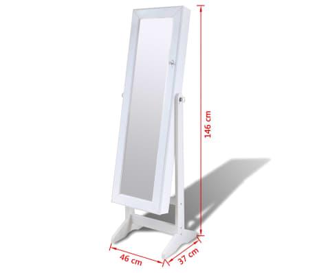 Cabinet alb pentru bijuterii cu suport, oglindă și lampă LED[7/7]