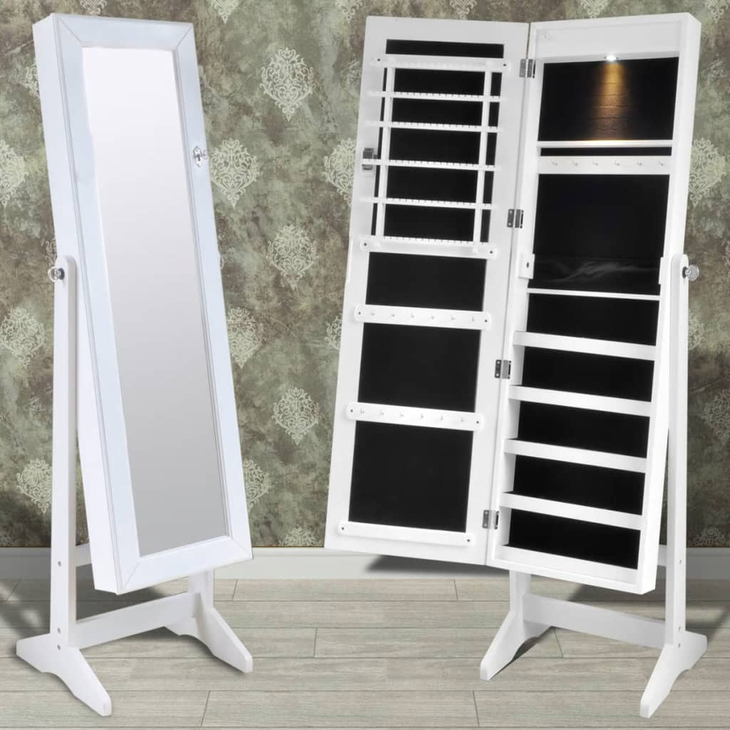 vidaXL White Free Standing Jewelry Cabinet with LED Light and Mirror Door