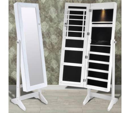 Cabinet alb pentru bijuterii cu suport, oglindă și lampă LED[1/7]