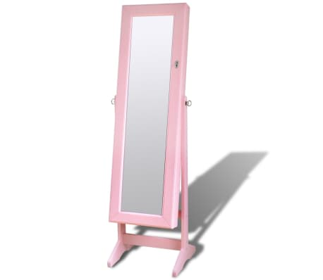 acheter armoire bijoux sur pied avec miroir et clairage led rose pas cher. Black Bedroom Furniture Sets. Home Design Ideas