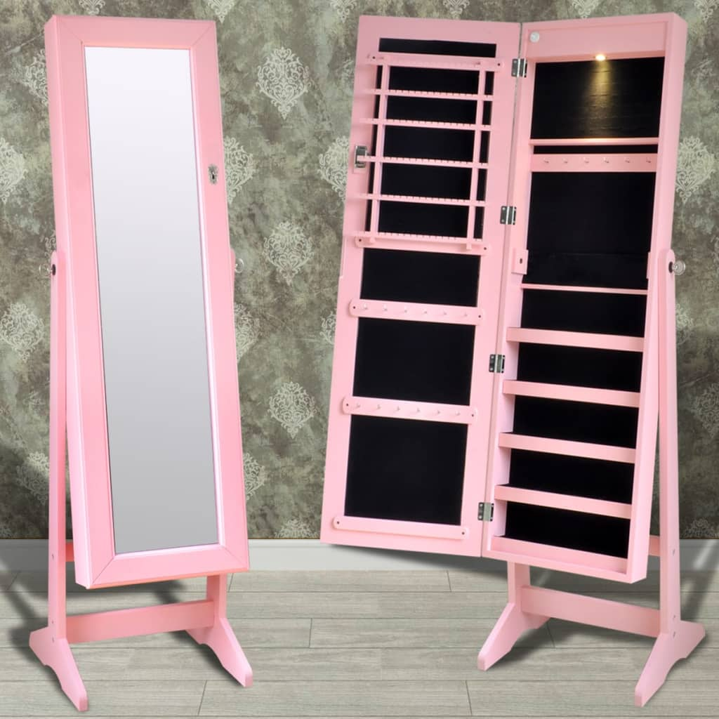 vidaXL Pink Free Standing Jewelry Cabinet with LED Light and Mirror Door