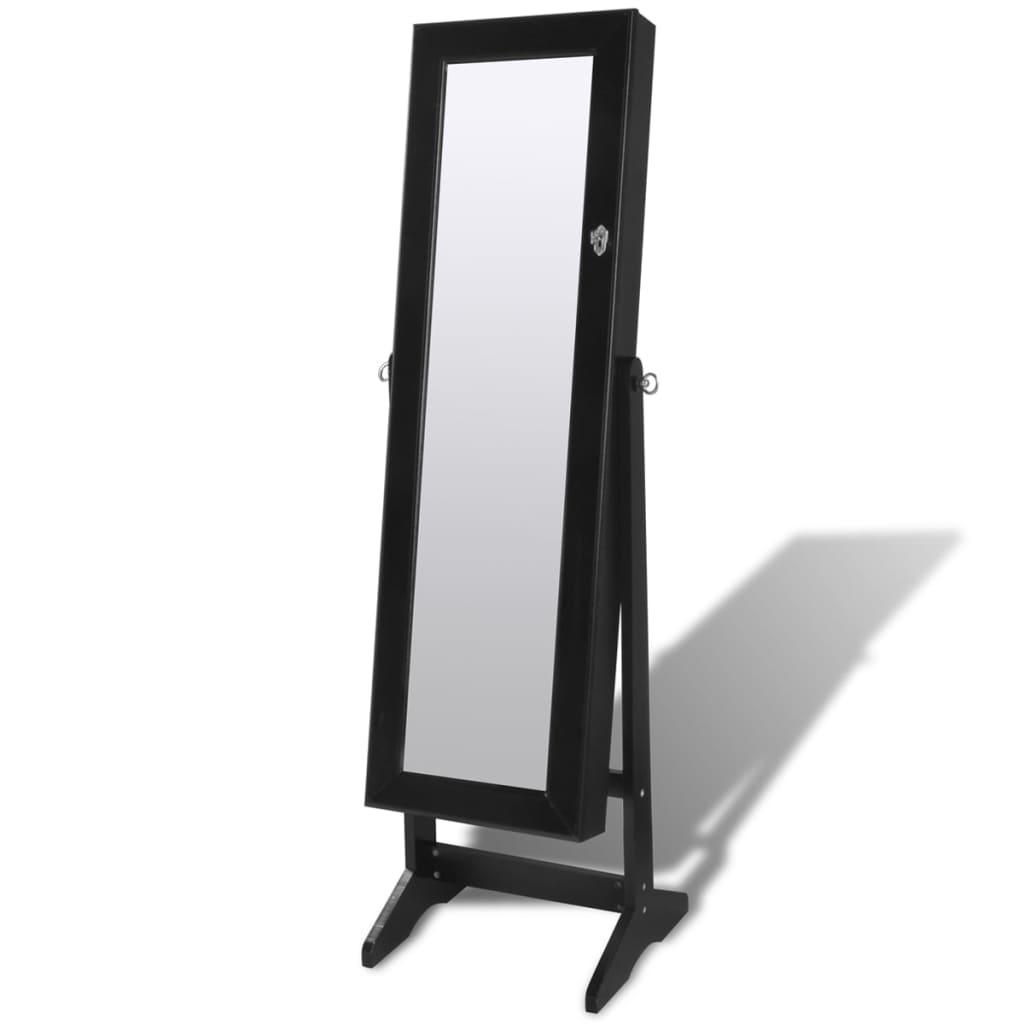 vidaXL Επιδαπέδια Κοσμηματοθήκη με LED Φως και Πόρτα Καθρέπτη Μαύρη
