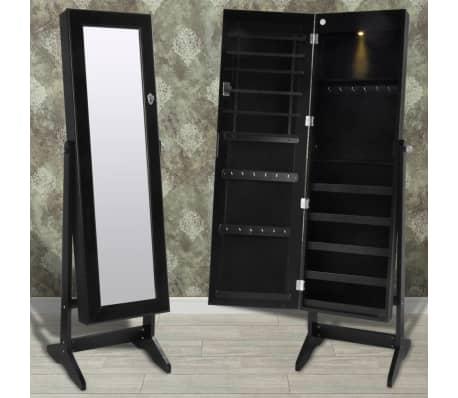 armoire bijoux sur pied avec miroir et clairage led noir. Black Bedroom Furniture Sets. Home Design Ideas