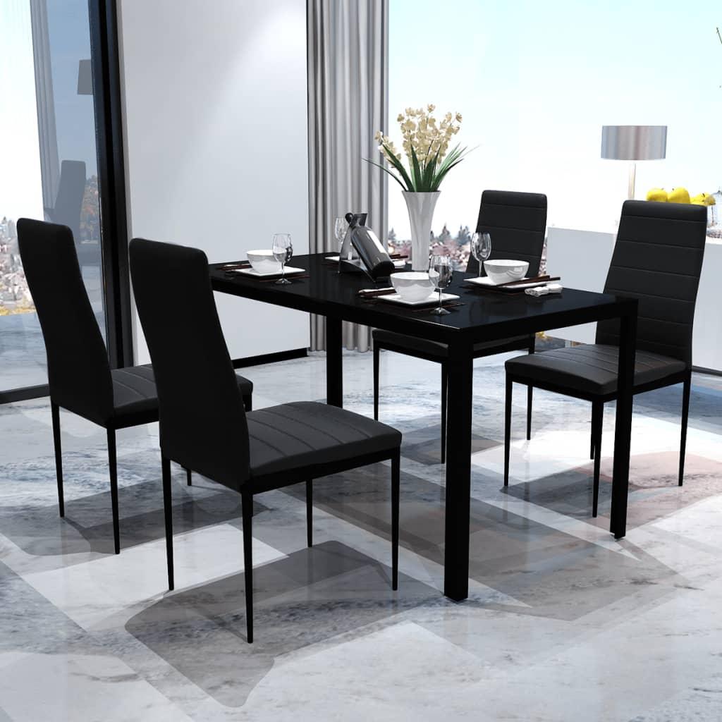 Jídelní set: 4 černých židlí + 1 stůl s moderním designem