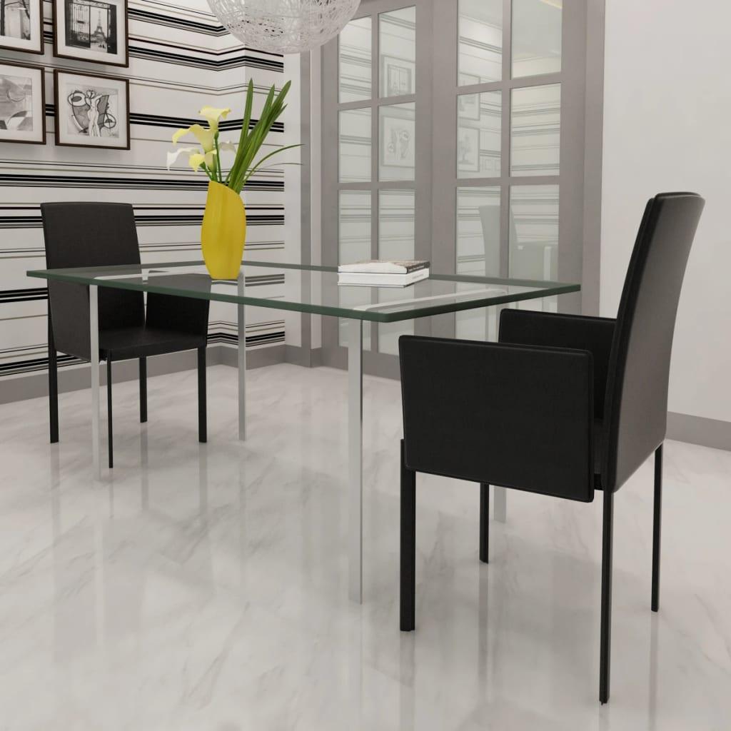 2 ks Černé koženkové jídelní židle / křesla s područkami