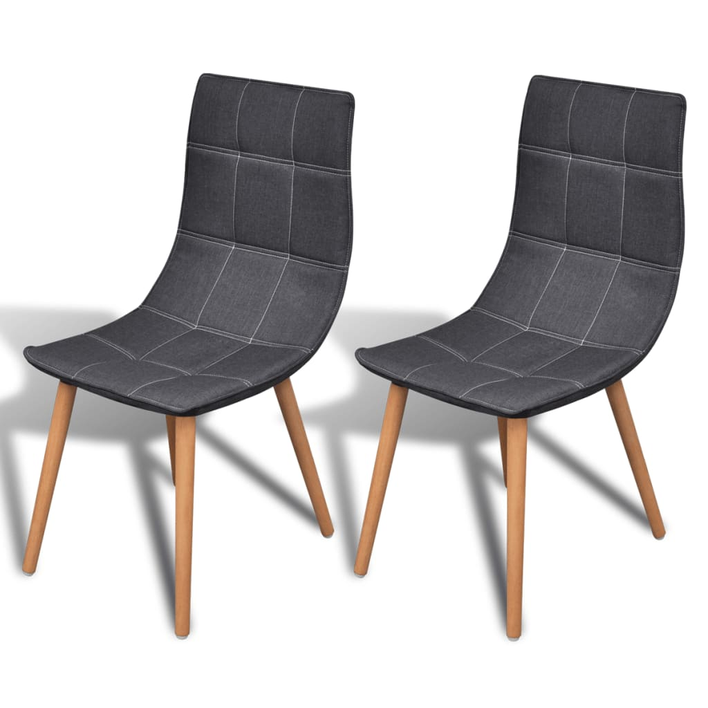 vidaXL 2 pcs Dark Grey Dining Chair Set