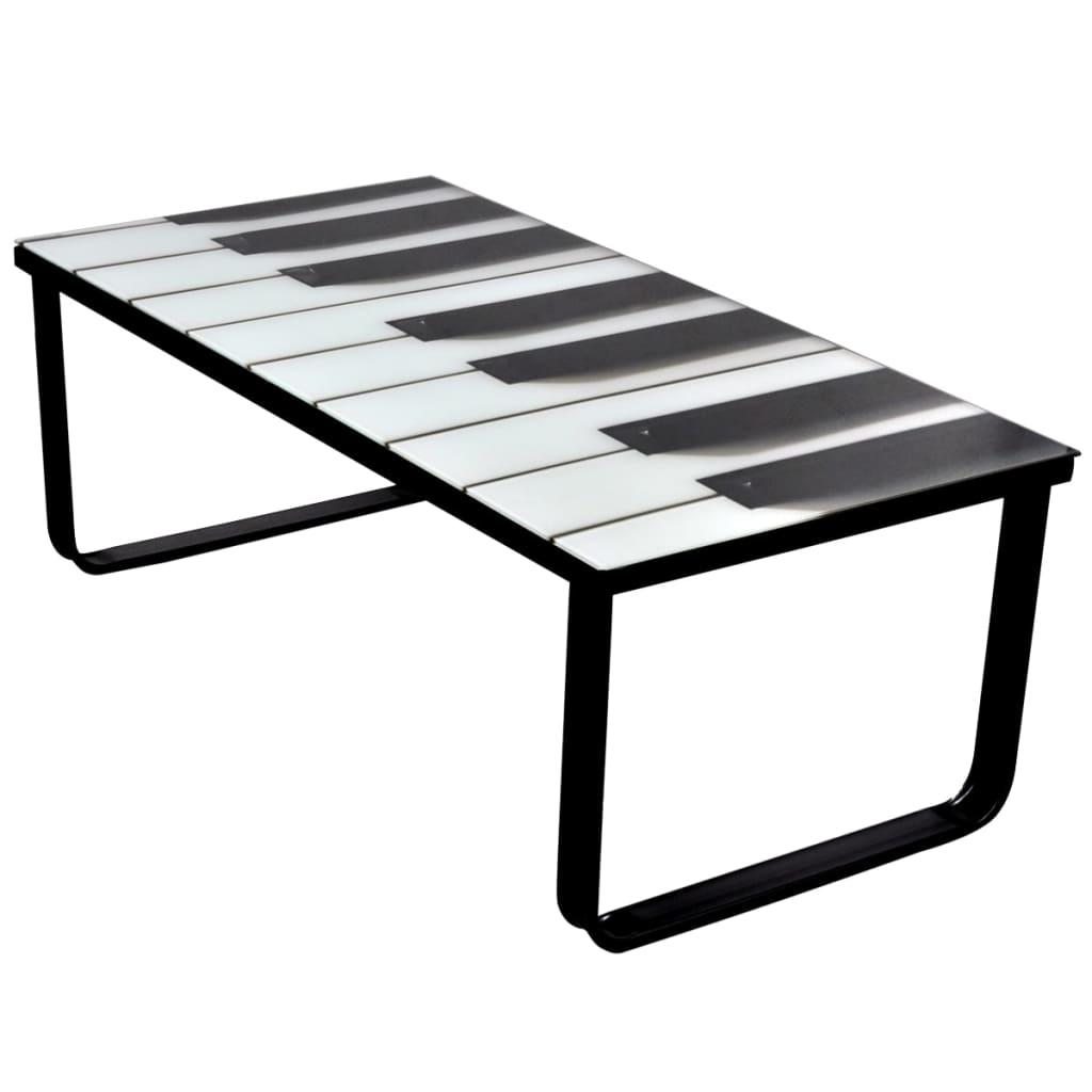 Skleněný konferenční stolek s potiskem, motiv klavíru