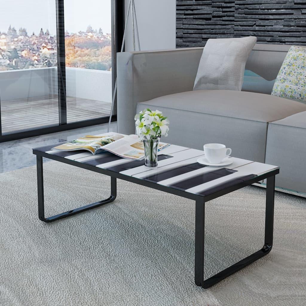 vidaXL Salontafel met piano-print glazen tafelblad