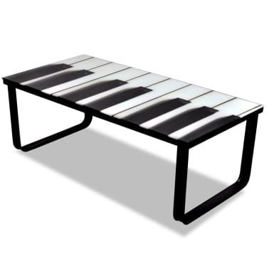 vidaXL Kavos staliukas su stikliniu pianino stalviršiu[4/7]