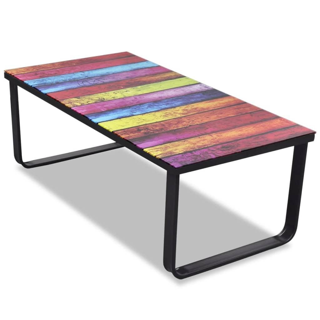 Skleněný konferenční stolek s duhovým potiskem