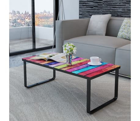 vidaXL Coffee Table with Rainbow Printing Glass Top[2/7]