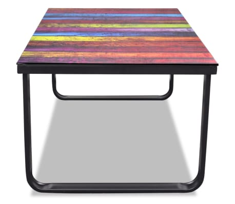 vidaXL Coffee Table with Rainbow Printing Glass Top[4/7]
