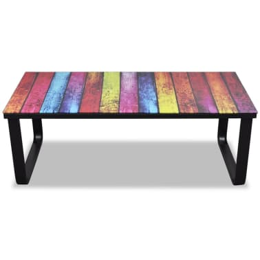 vidaXL Coffee Table with Rainbow Printing Glass Top[3/7]