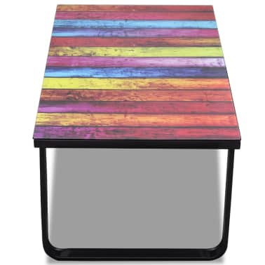 vidaXL Coffee Table with Rainbow Printing Glass Top[5/7]