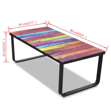 vidaXL Coffee Table with Rainbow Printing Glass Top[7/7]