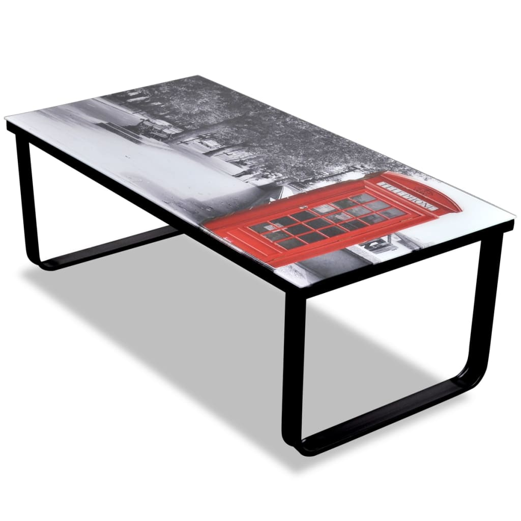 vidaXL Glass Coffee Table with Telephone Booth Printing