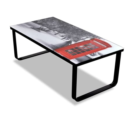 vidaXL Coffee Table with Telephone Booth Printing Glass Top[1/7]