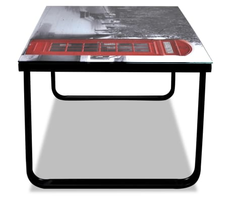 vidaXL Coffee Table with Telephone Booth Printing Glass Top[5/7]