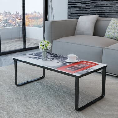 vidaXL Coffee Table with Telephone Booth Printing Glass Top[2/7]